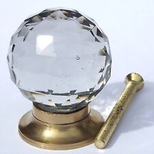 Large round cut glass brass base pulls (knobs) 50mm across 60mm screw