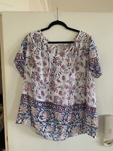 lucky brand 2x Womens Rayon Blend White Pink Blue Blouse