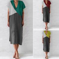 ZANZEA Women V Neck Casual Summer Long Shirt Dress Patchwork T-Shirt Dress Plus