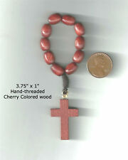 """Finger Rosary / Pocket Rosary in Cherry Colored Wood 3.75""""  x 1"""""""