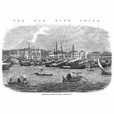 CHINA Opium Wars British Factories at CANTON - Antique Print 1857