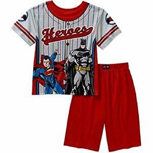 Batman and Superman Boy's Superheroes Pajama Shorts Set, Size 8