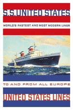SS United States - Stripes Poster  12 x 18