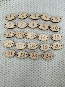 25 advent number oval buttons reusable various sizes advent calendar Christmas