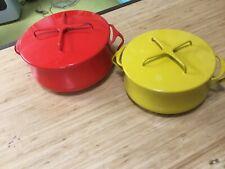 Vintage Dansk Kobenstyle Enamel Cookware Denmark Lot Of 2 Red/Yellow with lids