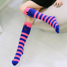 Toddlers Kids Girls Knee High Socks School Cotton Socks Tights Striped Stockings