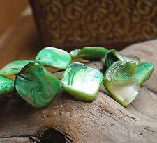 Armband ab 16 cm Perlmutt Grün Weiß Silber irisierend elastisch Muschel Eckig