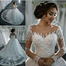 Long Sleeves Lace Applique Ball Gown Wedding Dresses Bridal Gowns Custom Size