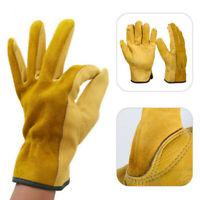 1/2 Pairs Heavy Duty Gardening Gloves Men Women Thorn Proof Leather Work Yellow