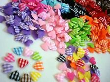 200 Assorted Gingham Check Mini Heart Fabric Applique Mix/Craft/Trim/Sewing H279