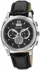 New Men's Bulova 96b218 Chronograph Black Leather Strap Watch