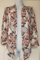 Womens Monsoon Jacket Cardigan White Grey Pink Floral Stretch 3/4 Sleeves large.