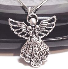 "GUARDIAN ANGEL_Pendant on 18"" Chain Necklace_Cherub Fairy Protection Silver_274N"