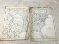 1857 Antik Map Of Die Vereinigte Staaten Von America Hand- Farbig 19th Century