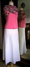 Marks & Spencer white linen blend lined calf length skirt stitch detail size 14