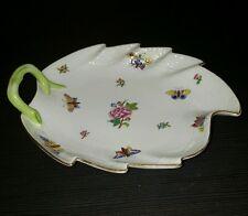 "A Herend Printemps Pattern Hand-Painted Porcelain 9"" Leaf Dish 201/LVF"