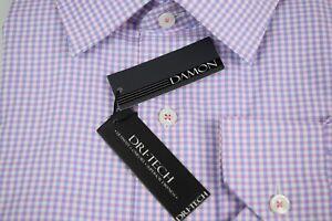 Damon Big and Tall Dri-Tech End on End Spread Collar Men's Dress Shirt