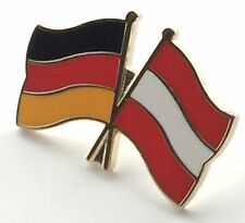 Germany & Austria Friendship Flags Gold Plated Enamel Lapel Pin Badge