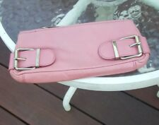 BANANA REPUBLIC  LEATHER CLUTCH PURSE SMALL PINK  W/BELT BUCKLE ACCENTS ZIP UP!