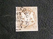 TIMBRES D'ALLEMAGNE : 1867/69 BAVIERE / BAYERN YVERT N° 18 - 6 k. BISTRE OBLIT.
