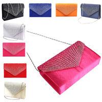 Women Crystal Frosted Clutch Handbag Purse Evening Envelope Shoulder Bag Purse
