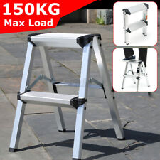 2 Step Stool Ladder Folding Portable Anti Slip Aluminium Frame Safety Home Tool