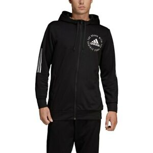 Adidas Sport ID Full Zip Hoodie Jacket Black White (DT9915)