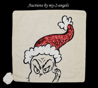 Pottery Barn Teen Dr. Seuss THE GRINCH FACE Pillow Cover RED SEQUIN *Christmas