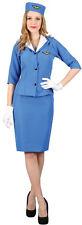 M Ladies Pan Am Hostess Costume for Airline Pilots Crew Fancy Dress Womens