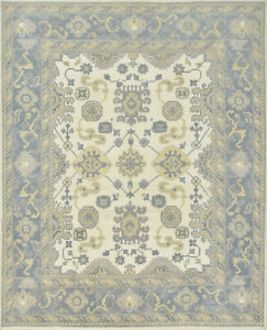 Oushak Rug, 8'x10', Ivory/Blue, Hand-Knotted Wool Pile