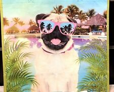 """TJ MAXX Reusable Dog with Sun Glasses Shopping  Bag/Tote 19"""" W x 18"""" H NEW"""