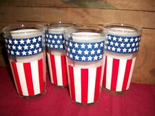 """New listing Lot of (4) Vintage American Flag Tumblers 5.25"""" Tall 10oz Very Nice Condition!"""