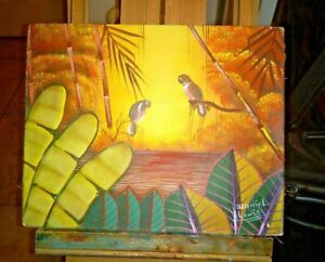 "COLLECT OUTSIDER ART HAITIAN PAINTING by daniel louis ""SUN BIRDS"" FOLKART HAITI"