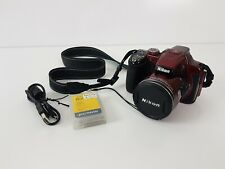 Nikon Cooplix P520 18.1MP Digital Camera 42x Optical Zoom Metallic RED + SD Card