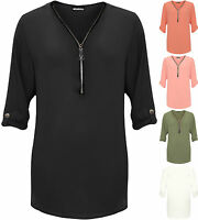 Womens Plus Curved Hem Crepe Top Ladies Zip Up V Neck 3/4 Sleeve Plain 14-28
