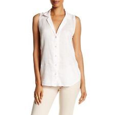 Equipment Sleeveless Adalyn White Linen Button Down Blouse Size: Medium