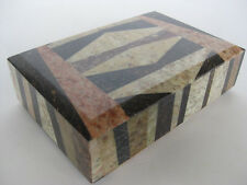 "Stone Box ~ 6"" x 4"" marble case, Mosaic rock jewelry box"