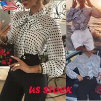 Women's Bow Neck Polka Dot Shirt Ladies Casual Long Sleeve Blouse Loose Tee Tops