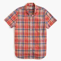 New J.Crew Indian Madras Shirt Short Sleeve Button Down Plaid Dark Guava NWT