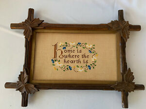 VINTAGE ADIRONDACK CARVED WOOD FRAME WITH CROSS STITCH PICTURE NO GLASS