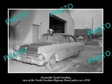 OLD POSTCARD SIZE PHOTO OF GREENVILLE NORTH CAROLINA POLICE PATROL CAR c1950