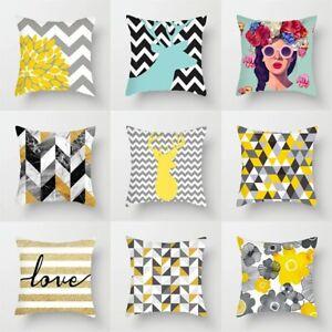 Yellow Plaid Print Cushion Cover Home Decor Geometric Pillow Cover Triangles