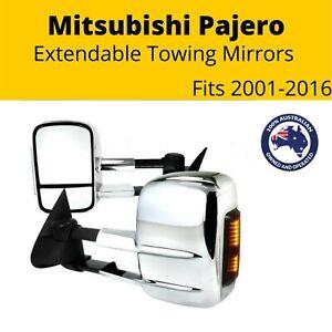 Extendable Towing Mirror Mitsubishi Pajero 2001-2016 Electric Indicators Chrome