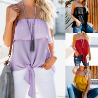 Womens Strapless Bandeau Boob Tube Tops Ladies Summer Chiffon Blouse T-Shirt