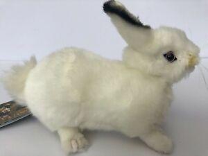 "Hansa Creations Crouching White Rabbit ""Most Realistic' Plush Bunny NWT"