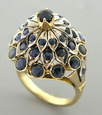 ANTIQUE VINTAGE 14K YELLOW GOLD BLUE SAPPHIRE RING OLD CUT STONES