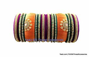 Silk Thread Bangles Wedding ceremony Orange and purple Color Jewelry Handmade