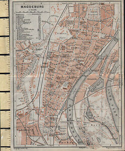1925 Tedesco Mappa ~ Magdeburg Città Plan ~ Parks Stazioni Banks Police Teatro