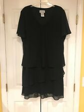 Ultra Dress New York Formal Black Dress Layered Lined Sie 22W Excellent Cond