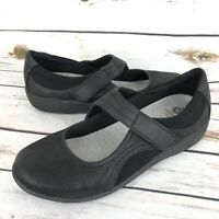 Clarks 7.5 Womens Black Leather Mary Janes Comfort Shoes Cloud Steppers